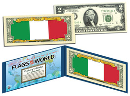 ITALY - Flags of the World Genuine Legal Tender U.S. $2 Bill Currency - $13.81