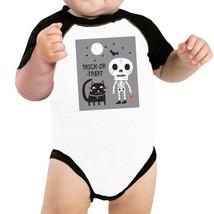Trick-Or-Treat Skeleton Black Cat Baby Black And White BaseBall Shirt - $15.99