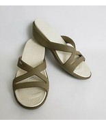 Crocs Womens Shoes Sandals Slides Wedge Heels Beige White Size 11 - $39.55