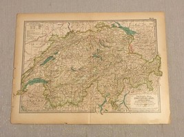 "Original 1897 Switzerland & Liechtenstein Map from The Century Atlas 12""... - $34.64"