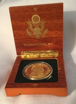TWO (2) PRES OBAMA CHALLENGE COIN in CLEAR CASE & WOOD GOLD EAGLE SEAL BOX - $43.50