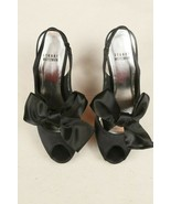 Stuart Weitzman Black Satin Bow Peep Toe Slingback High Heels Shoes Wome... - $49.49