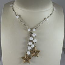 .925 RHODIUM SILVER NECKLACE, WHITE AGATE, SCARF, 2 YELLOW PLATED SILVER STARS. image 3