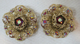 "Vintage Sarah Coventry Flower Earrings BIG 1 3/4"" Gold Filigree Rhinestone DR2 - $32.18"