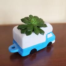 """RV Planter, Vehicle Plant Pot, Van Life Decor, blue white 5"""" ceramic image 4"""