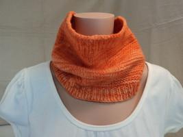 Handcrafted Wrap Cowl Orange Textured Merino Wool Female Adult - $30.46