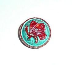 Pretty Red Butterfly w/ Tiffany Green & Gold Czech Glass Button 18mm Han... - $7.49