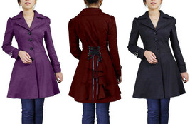 Victorian Goth Corset Lacing Jacket Spring Fall Mid Coat Black Burgundy ... - $56.47