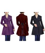 Victorian Goth Corset Lacing Jacket Spring Fall Mid Coat Black Burgundy ... - $60.54