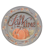Primitive Country FALL TIME WOODEN PLATE Autumn Decorative Pumpkins Harvest - £36.76 GBP