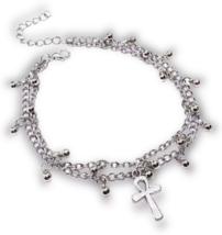 Ankh Cheville Bracelet Perlé de Double Chaîne Pied Argent Bijoux Ton - $23.72