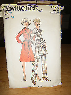 Primary image for Butterick 6292 Misses Dress or Tunic & Pants Pattern - Size 12 Bust 34