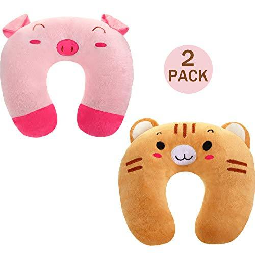 2 Pieces Kid's Travel Neck Pillow Rest, U-Shape Soft Neck Head Chin Support Pill
