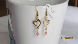 Hearts Gold w/ Pink Bead, Dangle Earrings - $10.00