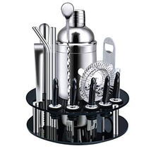 X-cosrack Bar Set,18-Piece Stainless Steel Cocktail Shaker Bar Tools,with Rotati