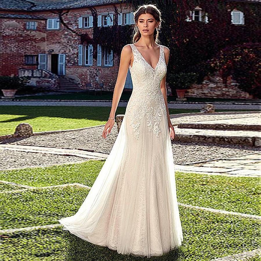 Junoesque tulle lace v neck neckline wedding dresses champagne bridal dress vestido noiva renda