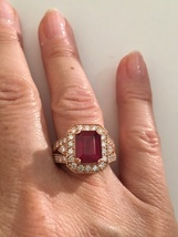 Solid 14K Rose Gold Genuine 4ct Emerald Cut Ruby & 1.2 ct Diamond Ring Sz 6.5 - $5,715.95