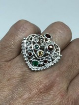 Vintage Citrine Emerald Ring Genuine Stone 925 Sterling Silver Heart Size 8 - $143.55