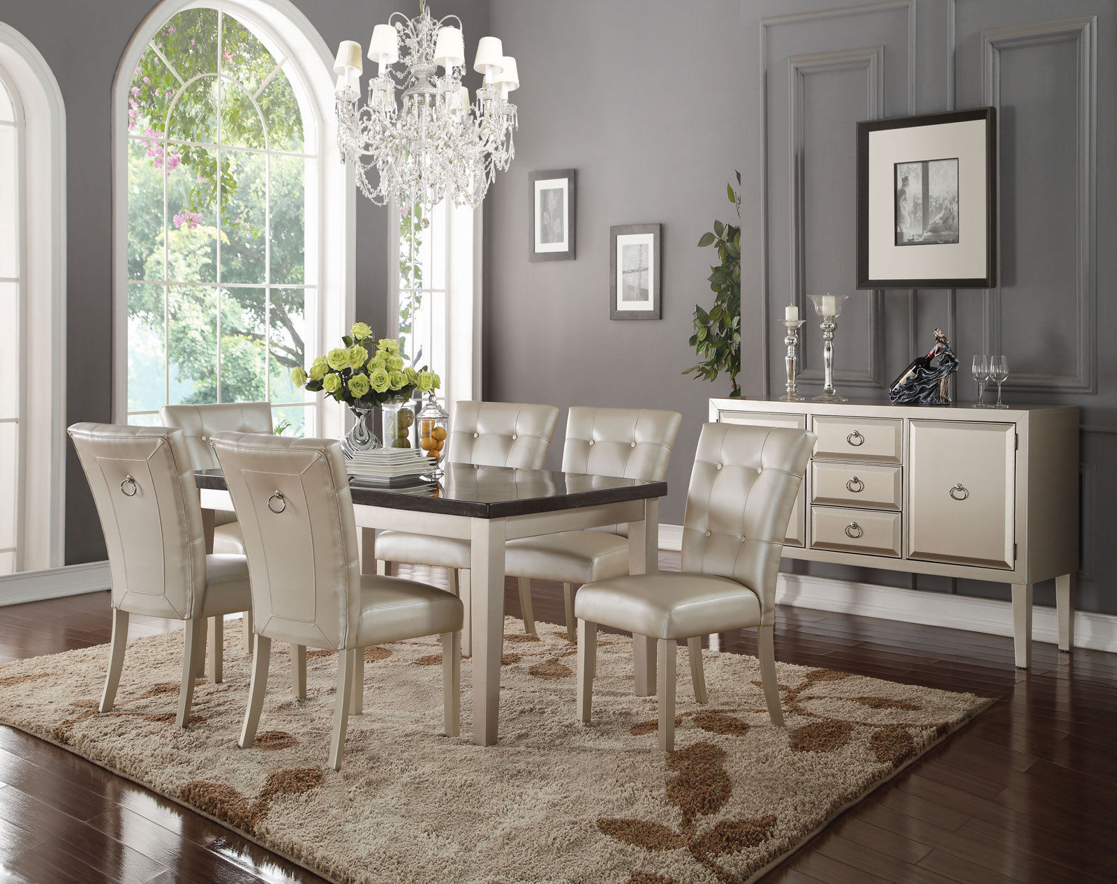 New Modern Dining Room Set 7 Pieces Rectangular Marble