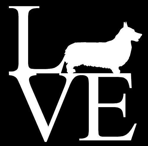 "Primary image for PEMBROOK CORGI LOVE V1 Vinyl Decal - size: 5"", color: WHITE - Windows, Walls, Bu"