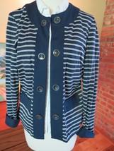 NWT Chicos Sleek Ponte Jacket, Nautical Boating Stripe size 0 Small 4-6 New - $38.61