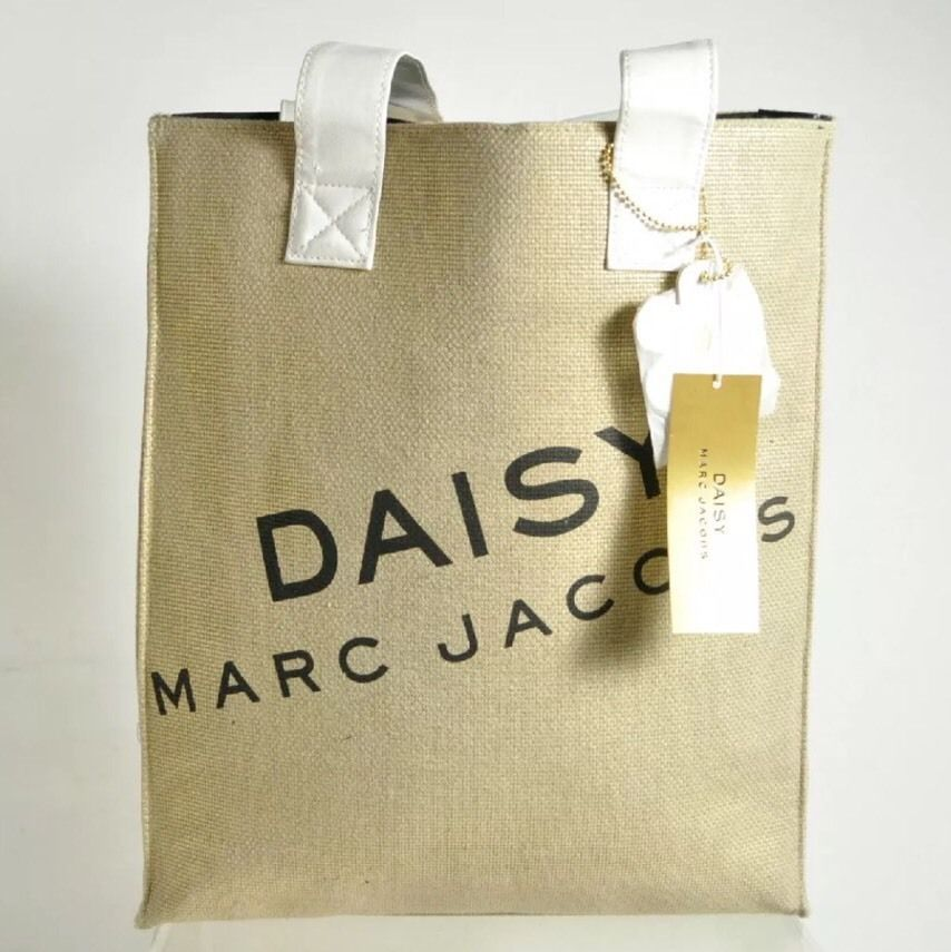 NWT Daisy Marc Jacobs Gold Metallic Burlap White Faux Leather Handles Tote