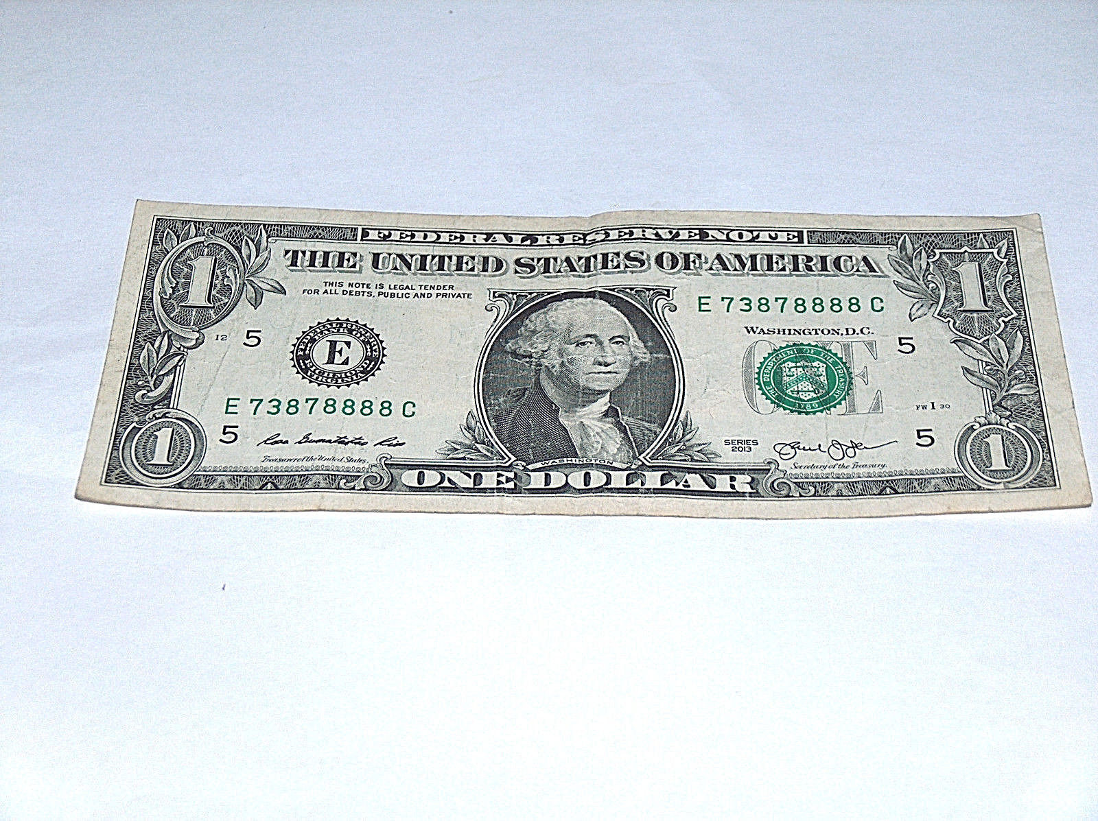 Primary image for 2013 $1 Bill US Bank Note 5-8's Four Of A Kind 8 73878888 Fancy Serial Number