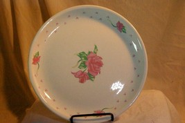 Tabletops Unlimited Pink Rose And Hearts Dinner Plate - $4.84