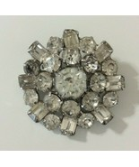 Vintage Weiss Pin Brooch Round Clear Rhinestone Emerald Cut - $17.81