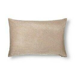 """Gold Metallic Embroidered Lumbar Pillow Fieldcrest 12"""" x 18"""" Feather Down Fill"""