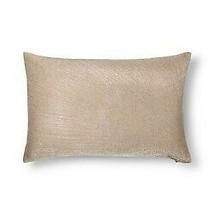 "Gold Metallic Embroidered Lumbar Pillow Fieldcrest 12"" x 18"" Feather Down Fill image 1"