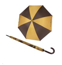Vintage 80s Aramis Large Golfing Leather Handled Rain Umbrella Brown Gold  - $39.55