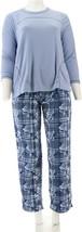 Stan Herman Microfleece Personality Pajama Set Blue Plaid S NEW A310786 - $26.71