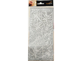 Elizabeth Crafts Design Peel-Offs, Silver, Dragonfly #2394
