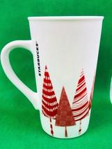Starbucks 2017 16 oz Coffee Mug Holiday Christmas Red White Trees Grande - $5.54