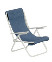 Dollhouse Miniature - Metal Lounge Chair with Blue Fabric - 1:12th Scale - $18.99