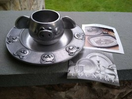 Vintage Set Wilton ARMETALE Metal Pig Ear Mug and Animal Plate USA - Cat... - $39.00