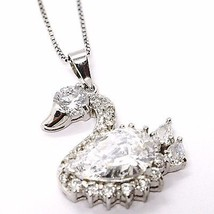 925 silver necklace, Venetian Chain, Pendant Necklace Swan, zirconia drop image 2