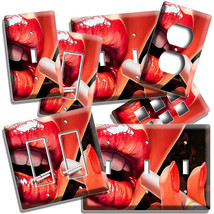 SEXY RED LIPS SMOKING CIGARETTE LIGHT SWITCH OUTLET WALL PLATE BEDROOM A... - $10.22+