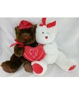 "Walmart Sweetheart Bears Plush 14"" Heart Pillow White Brown Stuffed Anim... - $17.95"