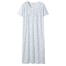 Keyocean Women's Nightgowns 100% Cotton Lace Trim Short Sleeve Solid Lon... - $39.09