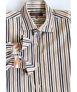 TED BAKER LONDON Mens Brown Striped Made in TURKEY Shirt French Cuffs 16... - $27.72