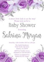 Purple, Silver and White Floral Baby Shower invitation Personalized Custom - $0.99