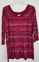 Sonoma Slub Striped Sweater Red Beige Lightwieght Plus Size 2X NWT $36 - $18.99