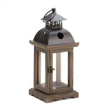 Small Monticello Clear Glass Wood Candle Lantern - $18.05