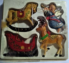Rare/Vintage Enesco Christmas Ornaments 4Pack--Hong Kong 1980 - $17.00