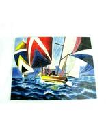 Michael O'Toole Canadian Artist Beautiful Ceramic Tile Sailing Boat Art - $148.45