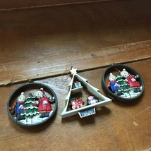 Lot of 3 Vintage Plastic Faux Wood Round w Boy & Girl & Tree Shaped w To... - $8.59