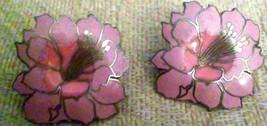 Vintage Cloisonne Enamel Pink Flowers Large Pierced Earrings - $4.75