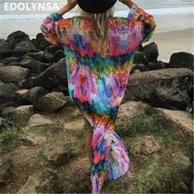 Beach Cover up Tunics for Beach Print Chiffon Long Kaftan Bikini Cover up Robe d - $19.95